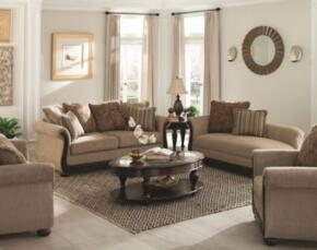 "Beasley Collection 505241 85"" Traditional Sofa, Love Seat and Chaise in Brown Fabric Upholstery"
