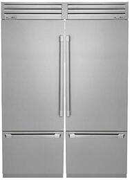 """Discovery Stainless Steel Refrigerator Set with DYF30BFTSR 30"""" Right Hinge Bottom Freezer Refrigerator, DYF30BFTSL 30"""" Left Hinge Bottom Freezer Refrigerator and AFTKSXS30TS Side-by-Side Installation Kit"""