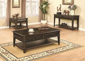 Occasional Table 704258CES 3 PC Living Room Table Set with Coffee Table + Sofa Table + End Table in Dull Black Finish
