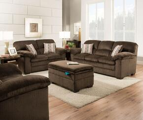 Plato 3684-0301509502 4 Piece Set including Sofa, Loveseat, Chair and Ottoman with Plush Padded Arms in Chocolate