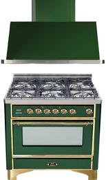 "2-Piece Emerald Green Kitchen Package with UM906DVGGVS 36"" Freestanding Gas Range (Brass Trim, 6 Burners, Timer) and UAM90VS 36"" Wall Mount Range Hood"