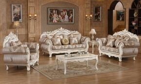 Serena 691-S-L-C 3 Piece Living Room Set with Sofa + Loveseat and Chair in Pearl White Color