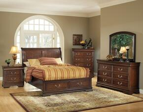 Hennessy 19445CK5PC Bedroom Set with California King Size Bed + Dresser + Mirror + Chest + Nightstand in Brown Cherry Finish