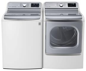 "White Top Load Laundry Pair with WT7700HWA 29"" 5.7 Cu. Ft. Washer and DLGX7701WE 9.0 Cu. Ft. Gas Dryer"
