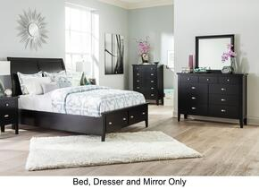 Braflin King Bedroom Set with Storage Panel Bed, Mirror and Dresser in Black
