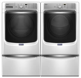 "White Front Load Laundry Pair with MHW8200FW 27"" Washer, MGD8200FW 27"" Gas Dryer and 2 XHPC155XW Pedestals"