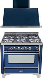 "2-Piece Midnight Blue Kitchen Package with UM906DMPBLX 36"" Freestanding Dual Fuel Range (Chrome Trim, 6 Burners, Timer) and UAM90BL 36"" Wall Mount Range Hood"