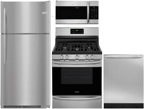 "Gallery 4-Piece Stainless Steel Kitchen Package with FGTR1837TF 30"" Top Freezer Refrigerator, FGGF3036TF 30"" Freestanding Gas Range, FGID2466QF 24"" Fully Integrated Dishwasher and FGMV176NTF 30"" Over-the-Range Microwave"