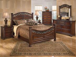 Leahlyn Queen Bedroom Set with Panel Bed Dresser, Mirror and Nightstand in Warm Brown