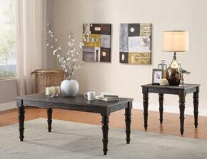 Kami 81614CE 2 PC Living Room Table Set with Coffee Table + End Table in Antique Black Finish