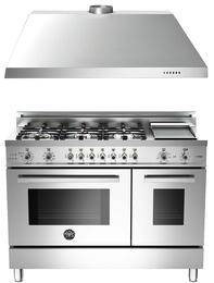 "Professional 2-Piece Stainless Steel Kitchen Package with PRO486GDFSX 48"" Natural Gas Dual Fuel Range and KU48PRO1X14 48"" Wall-Mount Range Hood"