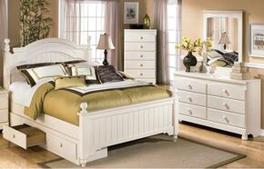 Burton Collection Full Bedroom Set with Poster Bed with Underbed Storage, Dresser and Mirror in Cream