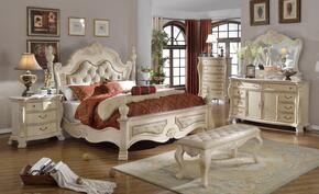 Monaco MONACOQDMCNB 7 PC Bedroom Set with Queen Size Bed + Dresser + Mirror + Chest + 2 Nightstands + Benchin Antique White Finish