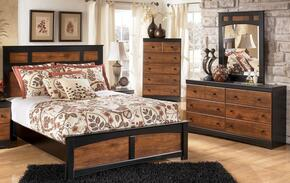 Tucker Collection Twin Bedroom Set with Panel Bed, Dresser and Mirror in Two Tone Brown