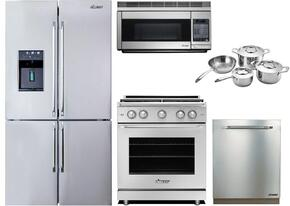 "Stainless Steel Kitchen Package with DTF364SIWS 36"" 4-Door French Door Refrigerator, RNR30NFS 30"" Freestanding Induction Range, RDW24S 24"" Fully Integrated Dishwasher with Epicure Handle, PCOR30S 30"" Over-the-Range Microwave and ADCW7S"