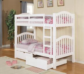 Heartland 02354BD 2 PC Bedroom Set with Twin Bunk Bed + Storage Drawers in White Finish