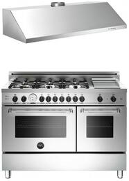 "Bertazzoni Stainless Steel 2-Piece Kitchen Package With MAS486GGASXT 48"" Master Series Gas Freestanding Range and Free KU48PRO1X Professional 48"" Wall-Mount Hood"