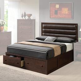 202311KW Remington California King Platform Bed with Upholstered Headboard, Selected Hardwood and Two Drawer Storage Footboard in Cappuccino Finish