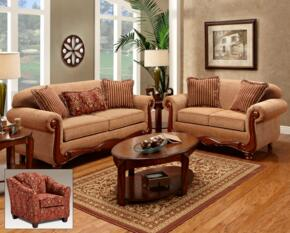 1000SLC Linda 3 PC Living Room Set Sofa + Loveseat + Chair in Key West Umber & Ravello Wine