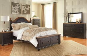 Maxington Queen Bedroom Set with Storage Bed, Dresser, Mirror, Single Nightstand and Chest in Brown