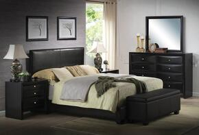 Ireland 14440F6PC Bedroom Set with Full Size Bed + Dresser + Mirror + 2 Nightstands + Storage Bench in Black Color