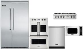 "5-Piece Stainless Steel Kitchen Package with VCSB5483SS 48"" Side by Side Refrigerator, VDOF730SS 30"" Electric Double Wall Oven, VRT5366BSS 36"" Gas Cooktop, VMOC206SS 24"" Microwave w. 27"" Trim Kit, and FDW302WS 24"" Dishwasher"