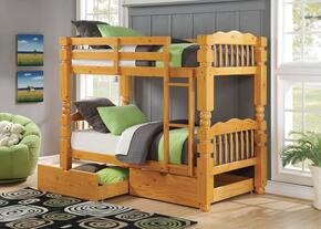 Benji 02575BD 2 PC Bedroom Set with Twin Bunk Bed + Storage Drawers in Honey Oak Finish