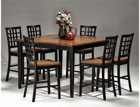 Arlington AR-TA-54541856G-BLJ   Dining Room Gathering Table with 6 Stools Distressed Detail in Black Java Finish