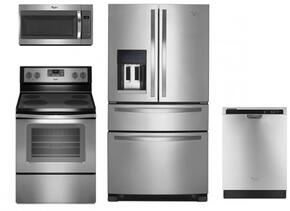 """4 Piece Kitchen package With WFC310S0ES 30"""" Electric Range, WMH31017FS Over The Range Microwave, WRX735SDBM 36"""" French Door Refrigerator and WDF520PADM 24"""" Built In Dishwasher In Stainless Steel"""