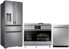 "3-Piece Stainless Steel Kitchen Package with DRF36C100SR 36"" French Door Refrigerator, DOP48M96DPS 48"" Freestanding Gas Range, and DDW24M999US 24"" Fully Integrated Dishwasher"