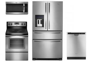 """4 Piece Kitchen package With WFE530C0ES 30"""" Electric Range, WMH32519FS Over The Range Microwave, WRX735SDBM 36"""" French Door Refrigerator and WDF520PADM 24"""" Built In Dishwasher In Stainless Steel"""