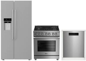 "3-Piece Kitchen Package with BSBS2230SS 36"" Side by Side Refrigerator, BGRP34520SS 30"" Freestanding Gas Range, and a free DWT25502SS 24"" Built In Full Console Dishwasher in Stainless Steel"