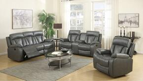 Avery 645-GRY-S-L-C 3 Piece Living Room Set with Reclining Sofa + Reclining Loveseat and Reclining Chair in Grey