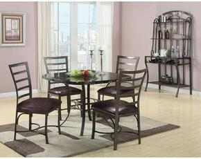 Daisy Collection 70157TCRB 6 PC Dining Room Set with Dining Table + 4 Side Chairs + Baker's Rack in Antique Bronze Metal Finish