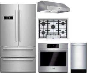"5-Piece Stainless Steel Kitchen Package with B21CL80SNS 36"" French Door Refrigerator, NGM8055UC 31"" Gas Cooktop, HBL8451UC 30"" Single Wall Oven, DPH30652UC 30"" Under Cabinet Hood, and SPX68U55UC 18"" Dishwasher"