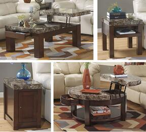 Kraleene T687CRCECE 4-Piece Living Room Table Set with Lift Top Cocktail Table, Round Lift Top Cocktail Table, End Table and Chair Side End Table in Dark Brown Finish