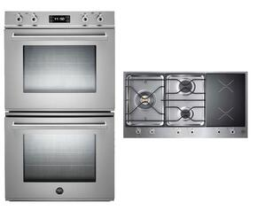 "Professional 2-Piece Stainless Steel Kitchen Package with FD30PROXE 30"" Double Electric Wall Oven and PM363I0X 36"" Electric/Gas Cooktop"