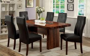 Bonneville I Collection CM3824T6SC 7-Piece Dining Room Set with Rectangular Table and 6 Side Chairs in Brown Cherry Finish