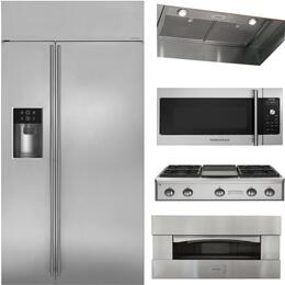 """5-Piece Stainless Steel Kitchen Package with ZISS420DKSS 42"""" Side by Side Refrigerator, ZGU364NDPSS 36"""" Gas Rangetop, ZVC36LSS 36"""" Hood Insert, ZEP30SKSS 30"""" Pizza Oven, and ZSA1201JSS 30"""" Over the Range Microwave"""