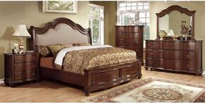 Bellavista Collection CM7350QBDMCN 5-Piece Bedroom Sets with Queen Bed, Dresser, Mirror, Nightstand and Chest in Brown Cherry