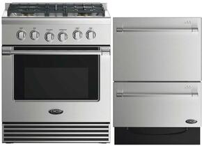 "2 Piece Stainless Steel Kitchen Package With RGV2304N 30"" Gas Freestanding Range and Free DD24DV2T7 24"" Drawers Dishwasher"