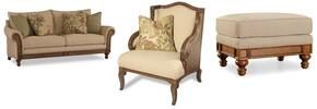 1125 3-Piece Living Room Set with Windward Dart Honey Sofa, Club Chair and Ottoman in Dart Honey
