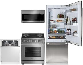 "4-Piece Kitchen Package with BRFB1920FBI 30 Inch Counter Depth Bottom Freezer Refrigerator, BDFP34550SS 30"" Freestanding Dual Fuel Range, BOTR30200CSS 30"" Over-the-Range Microwave oven and DWT59500FBI 24""  Fully Integrated Dishwasher"