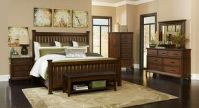 Estes Park 4364KPOSTERNCDMB 6-Piece Bedroom Set with King Poster Bed, Nightstand, Door Chest, Dresser, Mirror and Bench in Artisan Oak Finish