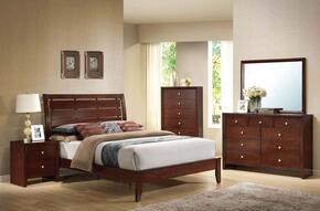 20400Q6PCSEST Ilana Queen Size Bed + Dresser + Mirror + Chest + 2 Nightstands in Brown Cherry Finish