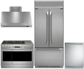 "4-Piece Professional Stainless Steel Kitchen Package with ZIPP360NHSS 36"" French Door Refrigerator, ZDP366NPSS 36"" Dual Fuel Natural Gas Range (6 Burners), ZV36SSJSS 36"" Range Hood and ZDT915SPJSS 24"" Fully Integrated Dishwasher"