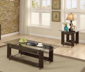 "70427 Collection 704278 52"" Industrial Coffee Table and End Table with Tempered Glass Top in Brown and Black Toned Wood Finish"