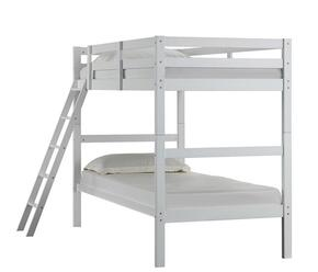 3001-37C Mission Hills Set Including Chest and Twin Bunk Bed with Distressed Detailing and Block Feet in White
