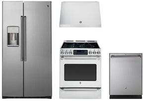 "4 Piece Stainless Steel Kitchen Package With CZS22MSKSS 36"" Side By Side Refrigerator, CS980STSS 30"" Electric Range, CV936MSS Range Hood and CDT835SSJSS 24"" Dishwasher For Free"