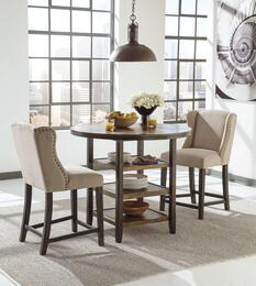 "Sydney Collection DR-427-CT2BEIBS Moriann 3-Piece Dining Room Set with Round Counter Dining Table and Two 24"" High Upholstered Barstools in Dark Brown Finish"